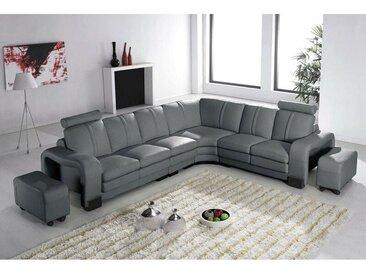 Canapé d'angle réversible en cuir gris avec appuie tête relax HAVANE