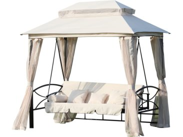 Balancelle de jardin 3 places convertible style colonial grand confort 5 coussins + matelas + moustiquaires inclus 2,45L x 1,65l x 2,43H m beige