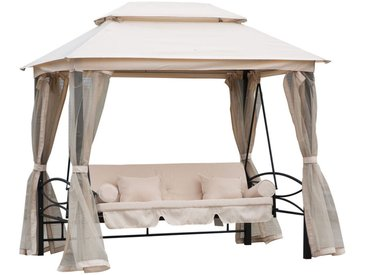Balancelle de jardin 3 places convertible style colonial grand confort 2 coussins + matelas + moustiquaires inclus noir beige