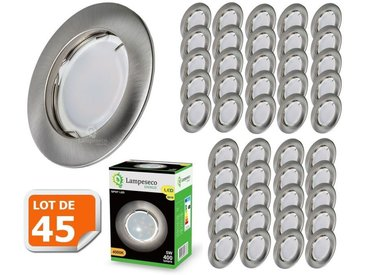 Lot de 45 Spot Led Encastrable Complete Alu Brossé Lumière Blanc Chaud 5W eq.50W ref.763