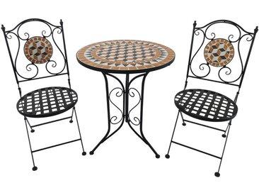 Salon de jardin 2 pers. 3 pièces ensemble bistro style fer forgé mosaïque 2 chaises + table ronde pliables métal époxy anticorrosion noir