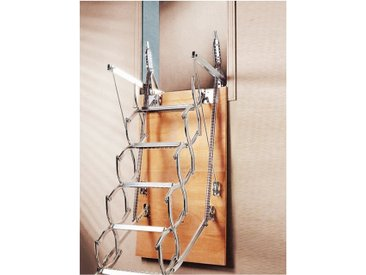 Échelle Escamotable en Ciseaux ZX MUR Trémie Disponible : 130x70 cm,Hauteur du Sol au Plafond (Sans compter le Plancher) : 225 a 250 cm