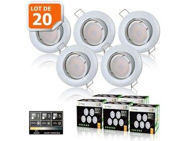20 SPOTS LED DIMMABLE SANS VARIATEUR 7W eq.56w BLANC CHAUD ORIENTABLE FINITION BLANC