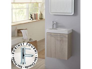 Meuble lave-mains design couleur chêne blanchi caledonia avec mitigeur eau chaude/ eau froide