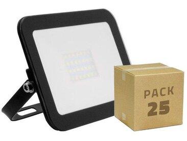 PACK Projecteur LED Extra-Plat Crystal 20W Noir (25 Un) Blanc Chaud 3000K