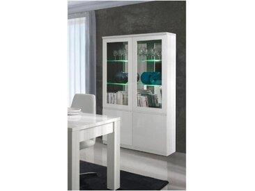 Vitrine, vaisselier, argentier FABIO blanc brillant high gloss + LED. Meuble design pour votre salon ou salle à manger. - Blanc