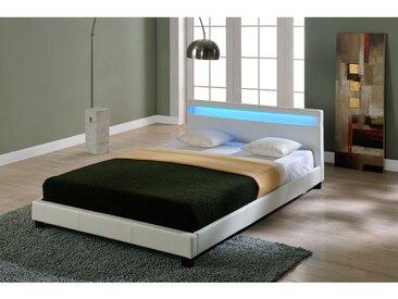 Lit capitonné à LED de (Paris) (blanc)(140x200cm) lit moderne, cuir synthétique, avec sommier à lattes