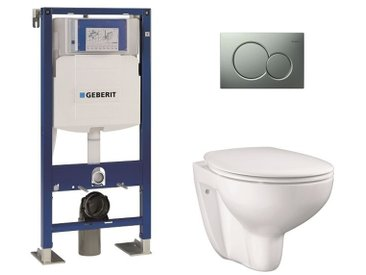 Pack WC Geberit UP320 + Cuvette GROHE sans bride Bau Ceramic + plaque Sigma CHR mate