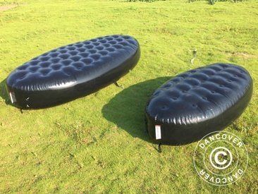 Banc gonflable, imitation Chesterfield, 1x1,95x0,45m, Noir
