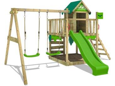 FATMOOSE Aire de jeux Portique bois JazzyJungle avec balançoire et toboggan vert pomme Maison enfant exterieur avec bac à sable, échelle d'escalade