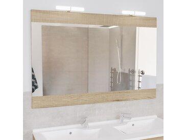 Miroir MIROSA bois cambrian avec applique LED - 120x80 cm