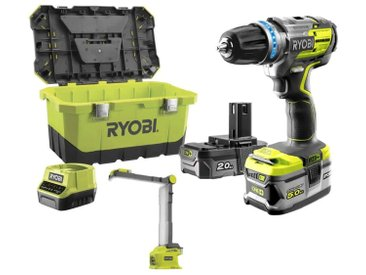 Pack brushless perceuse-visseuse �� percussion RYOBI 18 V OnePlus R18PDBL - Lampe LED modulable R18ALF - 2 batteries - chargeur rapide R18PDBL-252LT