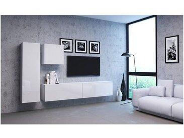 VIVIO | Ensemble meubles TV à suspendre salon | 4 éléments | Mur TV avec rangements | Unité murale style moderne | Gloss/mat | Blanc - Blanc