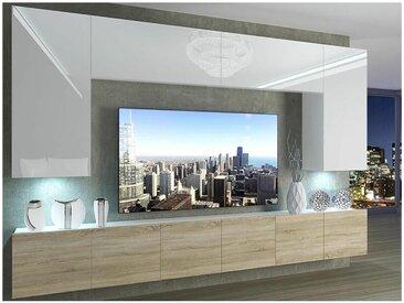 Hucoco - SILLEA | Ensemble meubles TV + LED | Unité murale style moderne | Largeur 300 cm | Mur TV à suspendre - Blanc/Sonoma