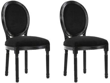 Lot de 2 chaises médaillon VERSAILLES style louis XVI velours noir