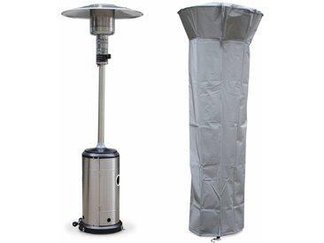 Chauffage d'extérieur gaz FINLAND 12 parasol chauffant de terrasse en Inox avec roulettes et housse