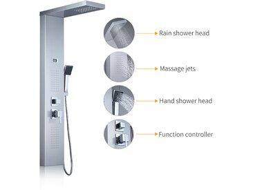 Auralum Panneau de Douche Cascade avec Jet de Massage Système de Douche en Acier Inoxydable avec Affichage LCD Température de l'eau Douche à Main Chromé Design Elégant