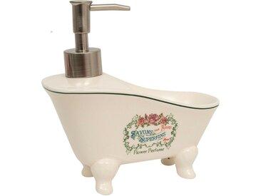 Distributeur de savon liquide en porcelaine blanche décorée Savons Superfines L17xPR9xH16 cm