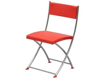 Chaise pliante - avec structure tubulaire chromée - ivoire clair