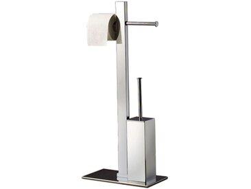 Gedy - Porte-papier toilette support sur pied pour papier hygiénique distributeur dérouleur double avec brosse WC incluse. Finition chromé (code 7632)