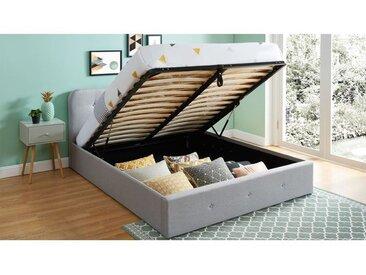 Lit coffre 160x200 cm gris clair avec tête de lit + sommier à lattes - Collection Kate