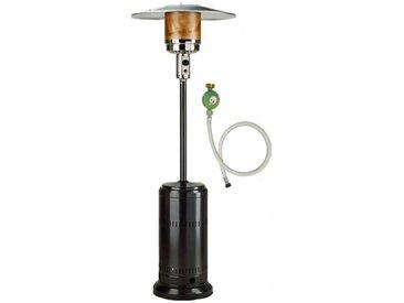 Parasol chauffant gaz 14KW Haute qualité Noir radiateur de terrasse + connectique