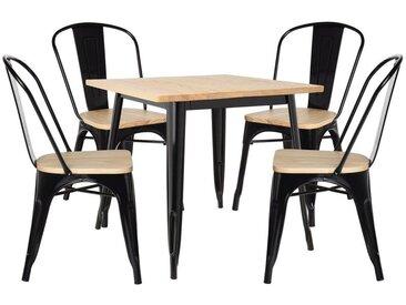 Lot de Table LIX Bois (80x80) & 4 Chaises LIX Bois Noir