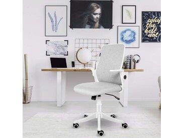 Chaise de bureau Ergonomique Chaise pivotante avec accoudoirs pliants blanc crème - Off-white