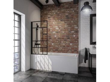 Schulte - Pare-baignoire rabattable, 80 x 140 cm, verre 5 mm, paroi de baignoire 1 volet, écran de baignoire pivotant, profilé noir, verrière industrielle décor demi-rayures noires - Transparent