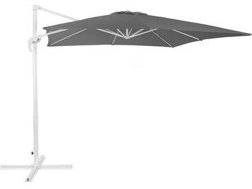 Parasol de jardin 2,5 m gris foncé et blanc MONZA