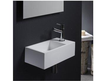 Lave-mains gain de place en solid surface Sacramento 35x18 cm Blanc PLANETE BAIN