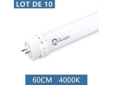 10×Anten 60CM T8 Tube LED 10W G13 Néon LED Tube Fluorescent 1000 Lumen Eclairage Plafonnier LED Blanc Neutre 4000K Starters Fournis