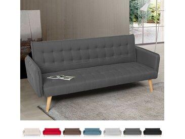 Canapé-lit 3 places clic clac en tissu inclinable design nordique Malibu | Couleur: Gris foncé