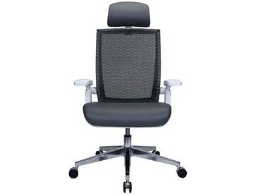 Chaise pivotante de bureau Traction - avec dossier respirant et appuie-tête, gris