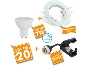 Lot de 20 Spot LED encastrable complet Blanc Fixe avec Ampoule GU10 7W Dimmable | Blanc neutre 4000K