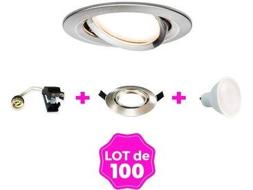 100 Spots encastrable orientable Alu Brossé avec GU10 LED de 7W eqv. 56W Blanc Chaud 3000K