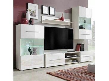 Meuble TV mural avec éclairage LED 5 pièces Blanc HDV10139 - Hommoo
