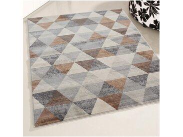 Tapis scandinave à courtes mèches géométrique Olivetto Marron 120x170