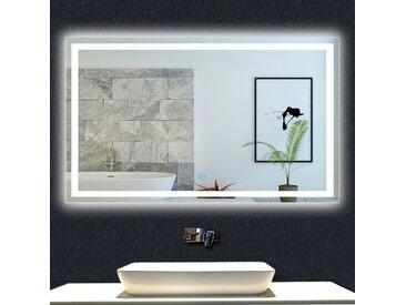 OCEAN Miroir de salle de bain 100x70cm anti-buée miroir mural avec éclairage LED modèle Carré