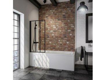 Schulte - Pare-baignoire rabattable, 70 x 130 cm, verre 5 mm, paroi de baignoire 1 volet écran de baignoire pivotant, profilé noir, verrière industrielle, décor rayures - Noir