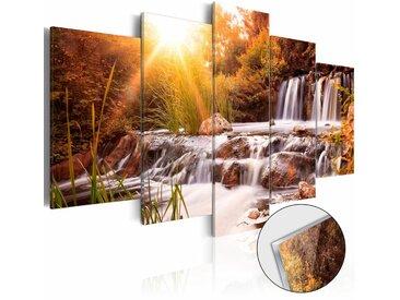 Décoshop26 - Tableaux en verre acrylique décoration murale motif Vallée de l'automne 200x100 cm - or
