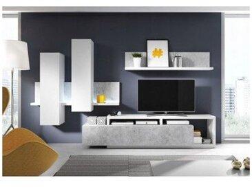 Ensemble meuble tv BOTILA blanc et béton - Blanc