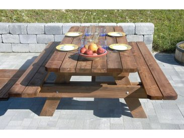 Table de jardin & pique-nique - 2m - section renforcée / epaisseur premium - Durable et Robuste - Bois - Origine France - Traitement classe 3 - 4 à 6 personnes.
