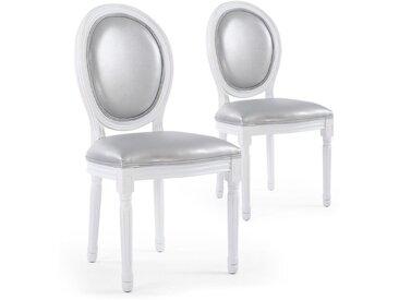 Lot de 2 chaises médaillon Louis XVI Simili (P.U) Silver