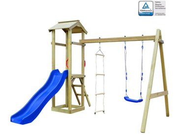 Maison de jeu et toboggan échelle balançoire 242x237x218cm Bois
