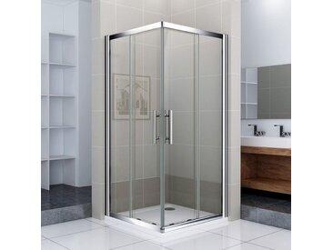 Porte de douche 76x76x187cm Porte coulissante Cabine de douche accès d'angle verre sécurit