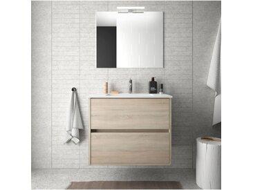 Meuble de salle de bain suspendu 70 cm marron Caledonia avec lavabo en porcelaine   Avec miroir et lampe LED