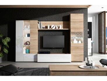 Ensemble Meuble Tv Essential 260 cm Blanc brillant et Chêne clair | Chêne clair