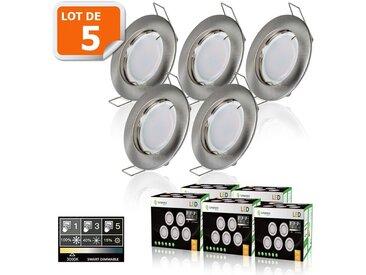 5 SPOTS LED DIMMABLE SANS VARIATEUR 7W eq.56w BLANC CHAUD FINITION ALU BROSSE
