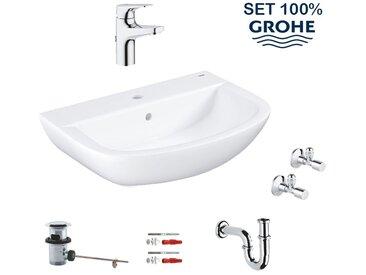 Grohe Set tout en 1 : lavabo suspendu 60 cm + mitigeur monocommande + siphon + robinet d'équerre (LAVABOMITIGEURGROHE)